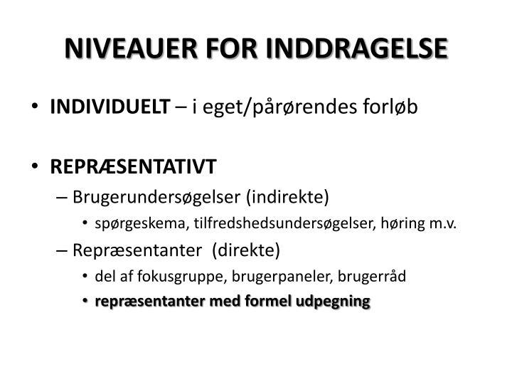 NIVEAUER FOR INDDRAGELSE