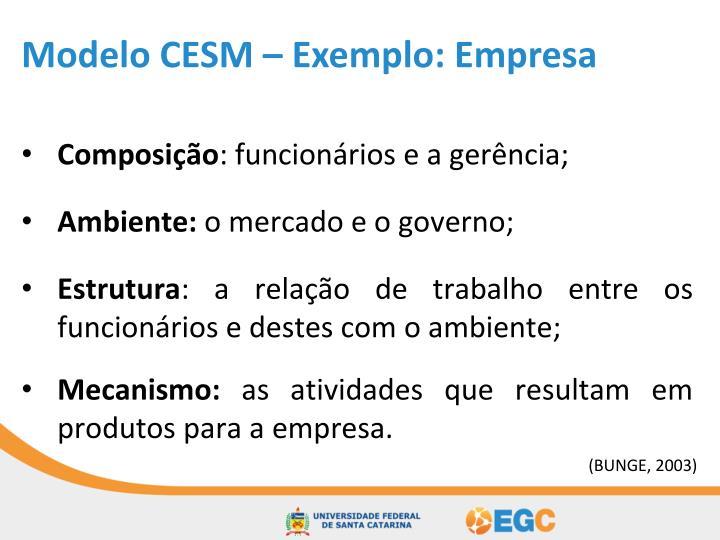 Modelo CESM – Exemplo: Empresa