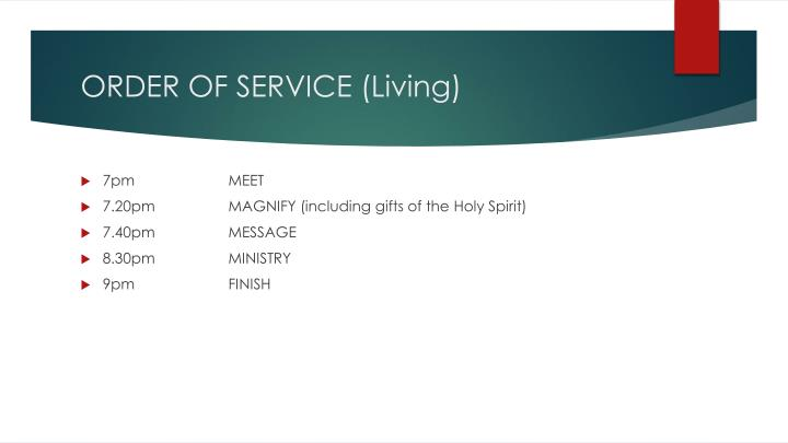 ORDER OF SERVICE (Living)