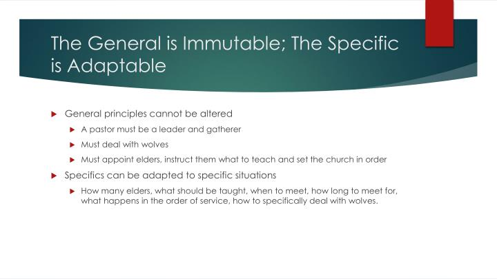 The General is Immutable; The Specific is Adaptable
