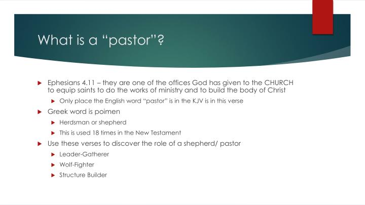 "What is a ""pastor""?"