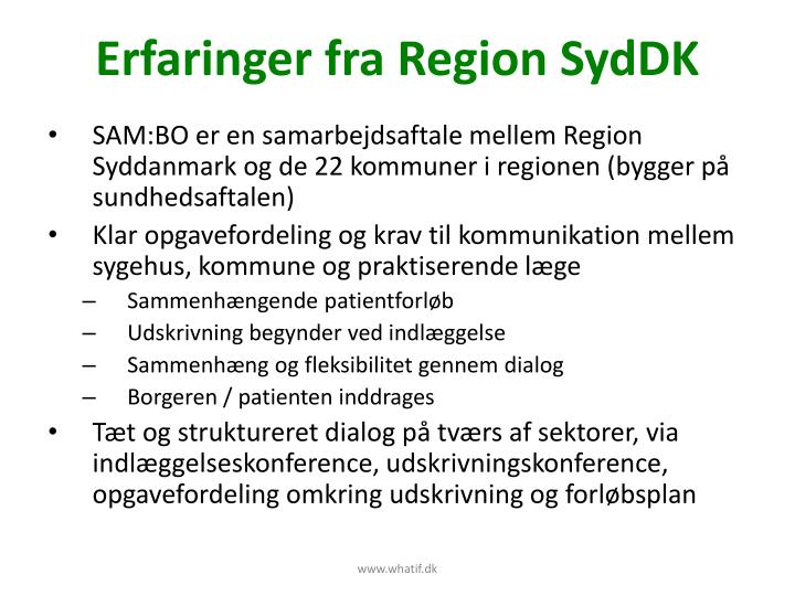Erfaringer fra Region SydDK