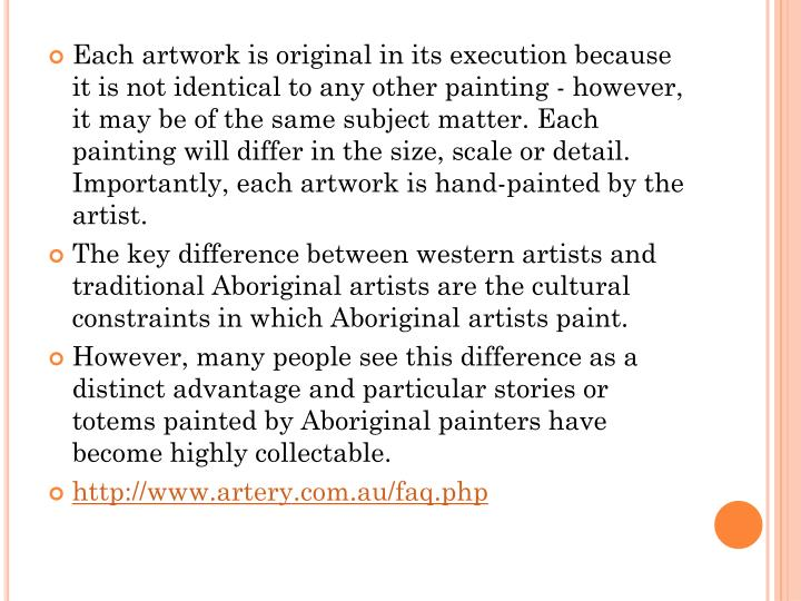 Each artwork is original in its execution because it is not identical to any other painting - howeve...