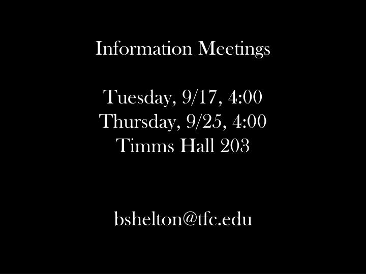 Information Meetings