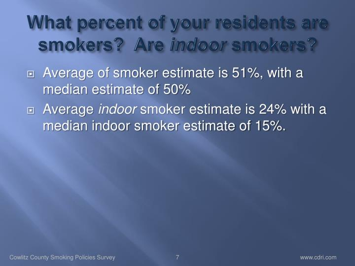What percent of your residents are smokers?  Are