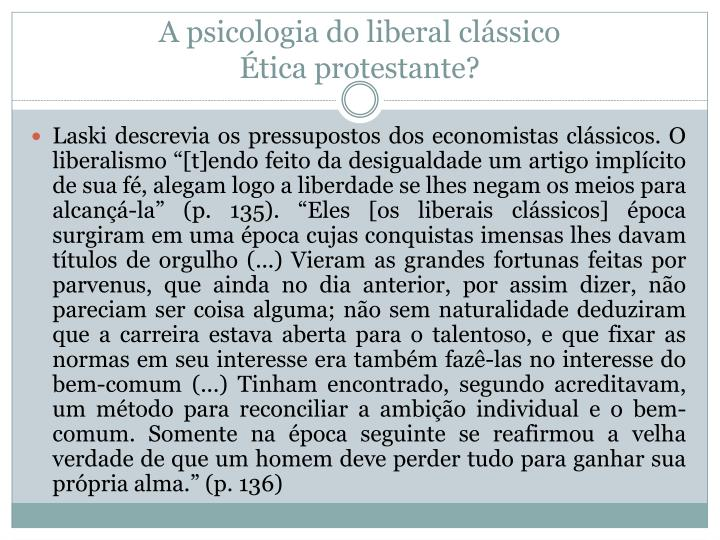 A psicologia do liberal clássico
