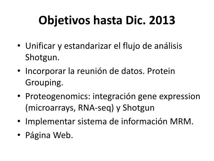 Objetivos hasta Dic. 2013