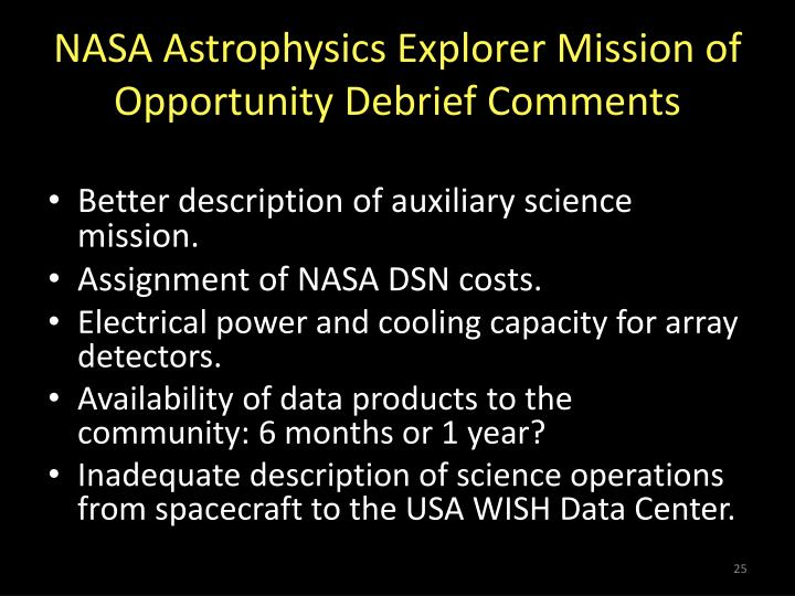 NASA Astrophysics Explorer Mission of Opportunity Debrief Comments