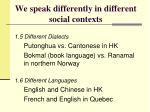 we speak differently in different social contexts4