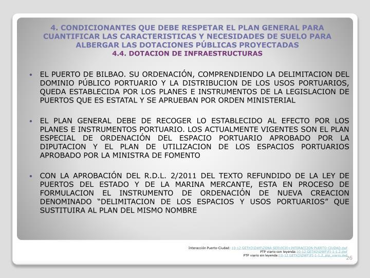 EL PUERTO DE BILBAO. SU ORDENACIN, COMPRENDIENDO LA DELIMITACION DEL DOMINIO PBLICO PORTUARIO Y LA DISTRIBUCION DE LOS USOS PORTUARIOS, QUEDA ESTABLECIDA POR LOS PLANES E INSTRUMENTOS DE LA LEGISLACION DE PUERTOS QUE ES ESTATAL Y SE APRUEBAN POR ORDEN MINISTERIAL