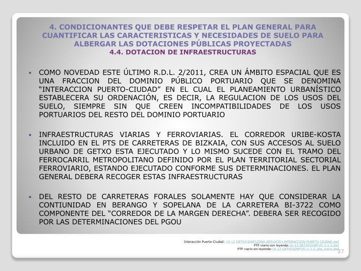 COMO NOVEDAD ESTE LTIMO R.D.L. 2/2011, CREA UN MBITO ESPACIAL QUE ES UNA FRACCION DEL DOMINIO PBLICO PORTUARIO QUE SE DENOMINA INTERACCION PUERTO-CIUDAD EN EL CUAL EL PLANEAMIENTO URBANSTICO ESTABLECERA SU ORDENACIN, ES DECIR, LA REGULACION DE LOS USOS DEL SUELO, SIEMPRE SIN QUE CREEN INCOMPATIBILIDADES DE LOS USOS PORTUARIOS DEL RESTO DEL DOMINIO PORTUARIO