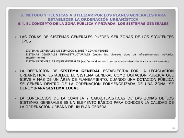 LAS ZONAS DE SISTEMAS GENERALES PUEDEN SER ZONAS DE LOS SIGUIENTES TIPOS: