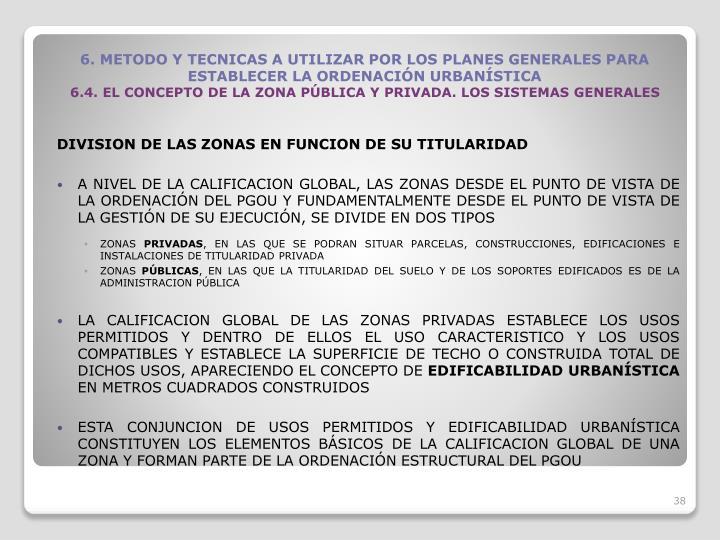 DIVISION DE LAS ZONAS EN FUNCION DE SU TITULARIDAD