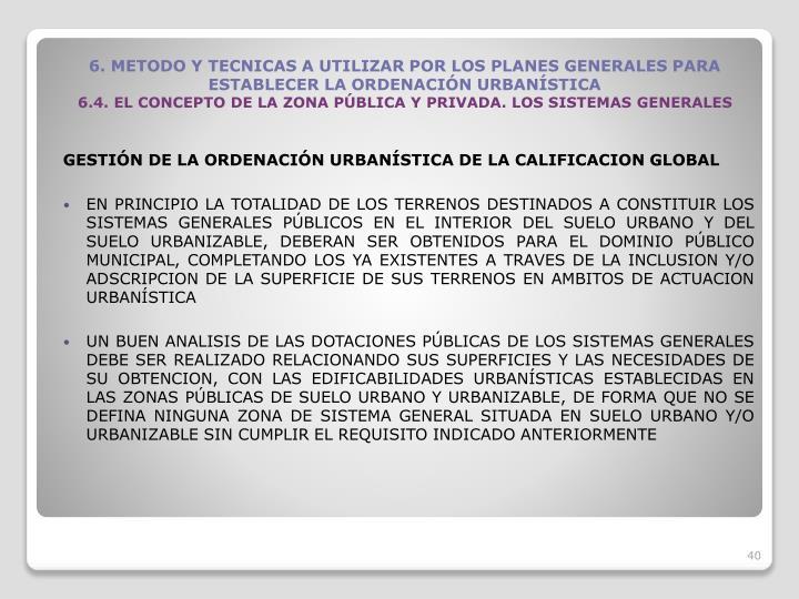 GESTIN DE LA ORDENACIN URBANSTICA DE LA CALIFICACION GLOBAL