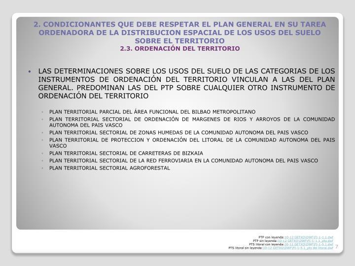 LAS DETERMINACIONES SOBRE LOS USOS DEL SUELO DE LAS CATEGORIAS DE LOS INSTRUMENTOS DE ORDENACIN DEL TERRITORIO VINCULAN A LAS DEL PLAN GENERAL. PREDOMINAN LAS DEL PTP SOBRE CUALQUIER OTRO INSTRUMENTO DE ORDENACIN DEL TERRITORIO