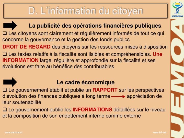 D. L'information du citoyen
