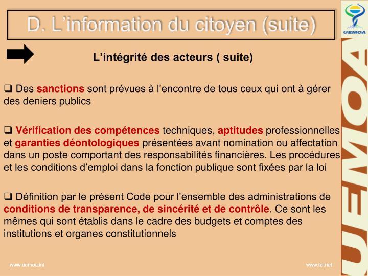 D. L'information du citoyen (suite)