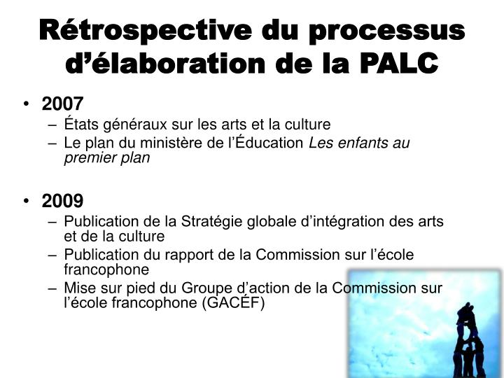 Rétrospective du processus d'élaboration de la PALC