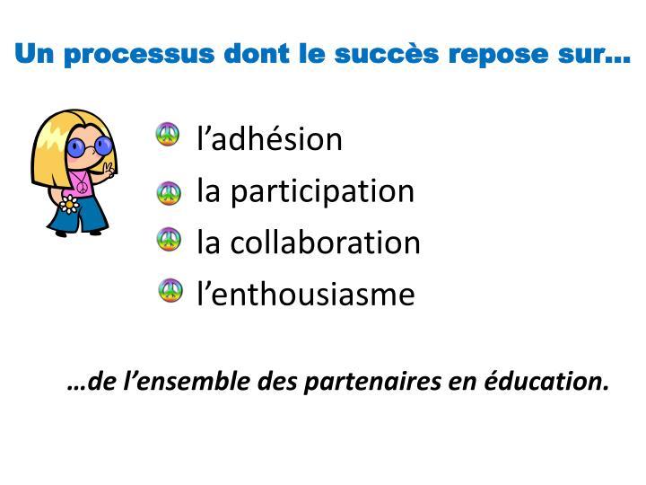 Un processus dont le succès repose