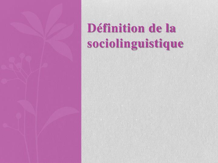 Définition de la sociolinguistique