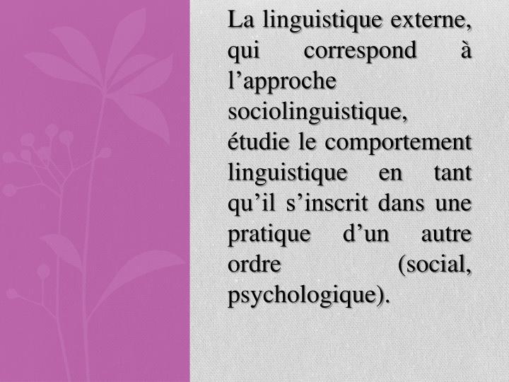 La linguistique externe, qui correspond à l'approche sociolinguistique, étudie le comportement linguistique en tant qu'il s'inscrit dans une pratique d'un autre ordre (social, psychologique).
