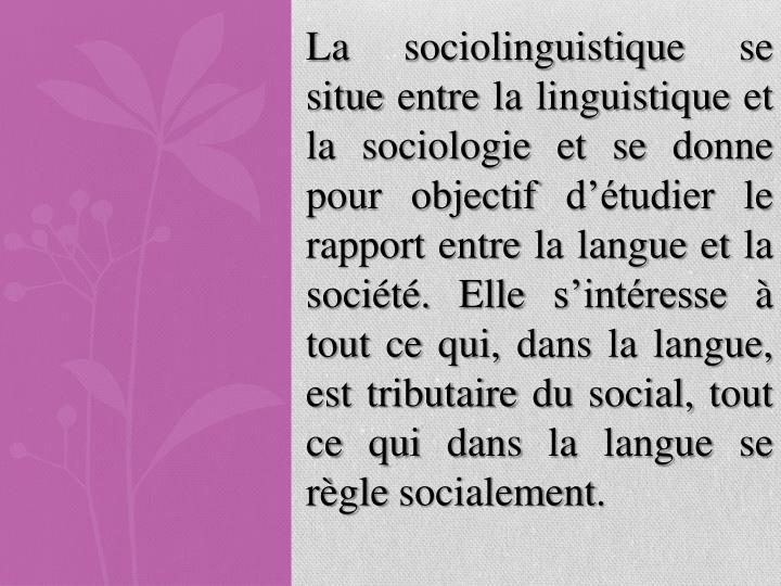 La sociolinguistique se situe entre la linguistique et la sociologie et se