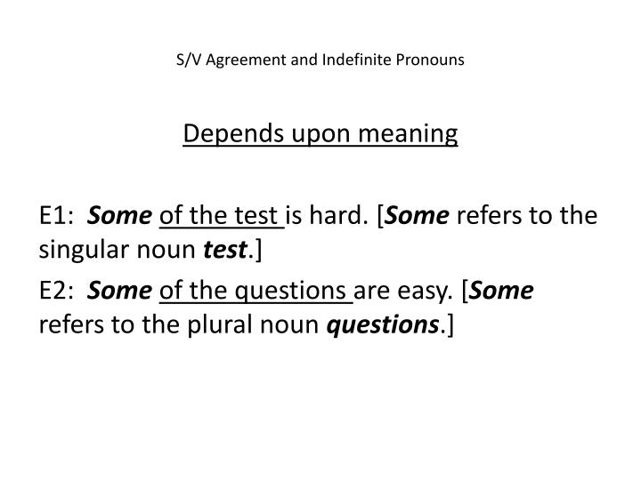 S/V Agreement and Indefinite Pronouns