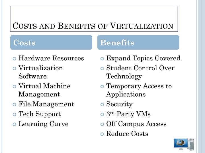 Costs and Benefits of Virtualization