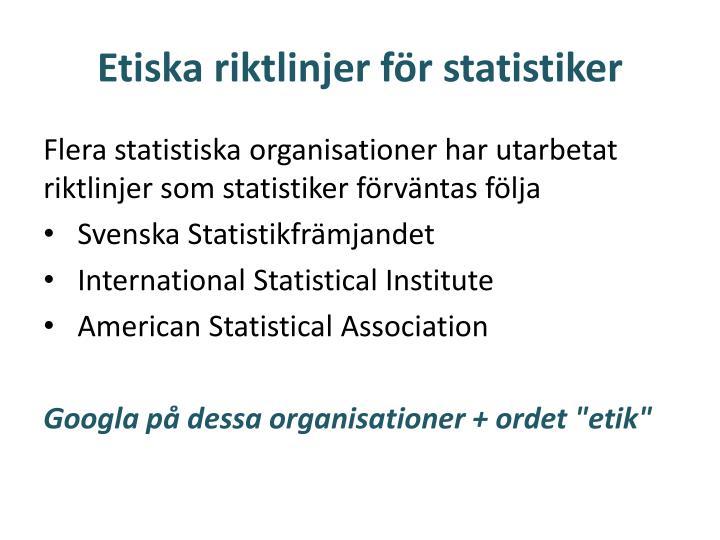 Etiska riktlinjer för statistiker