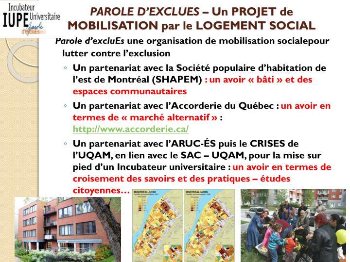 PAROLE D'EXCLUES