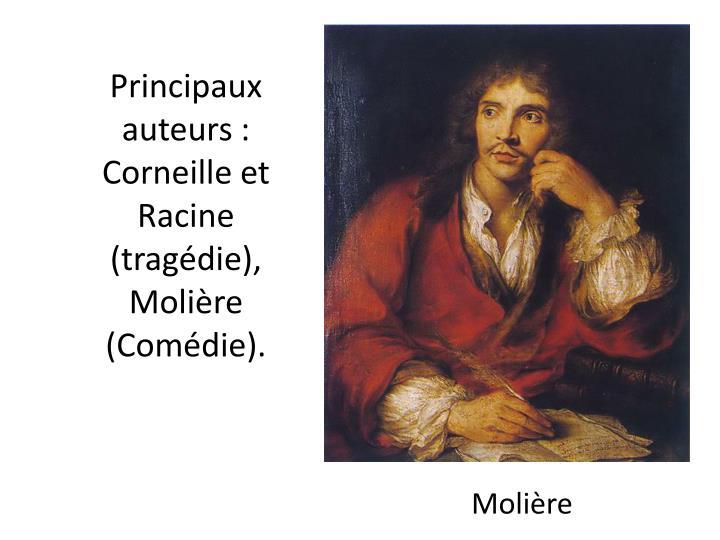 Principaux auteurs: Corneille et Racine (tragédie), Molière (Comédie).