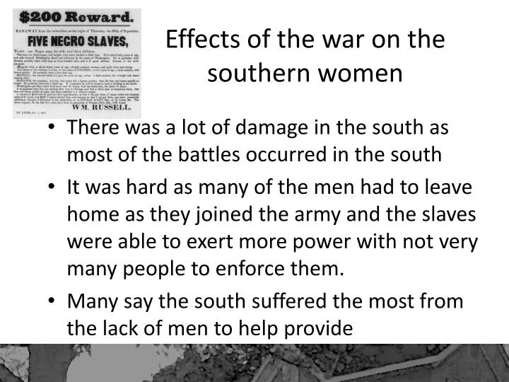 Effects of the war on the southern women
