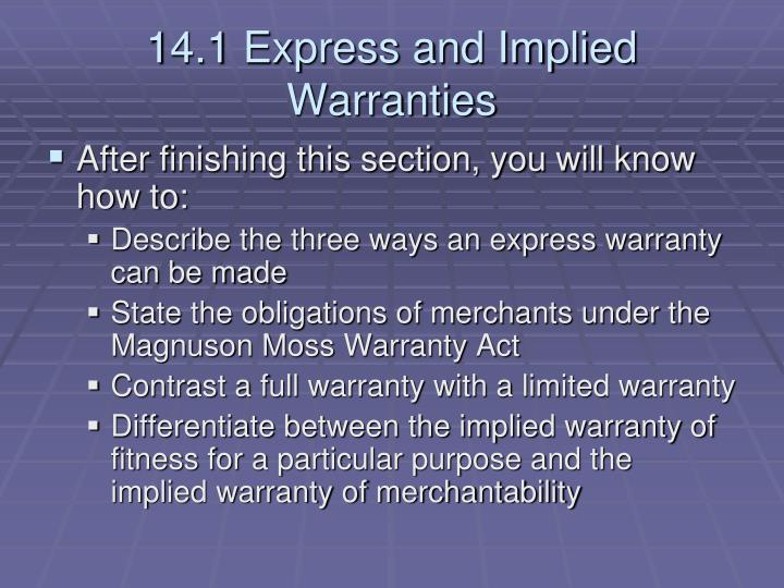 14 1 express and implied warranties