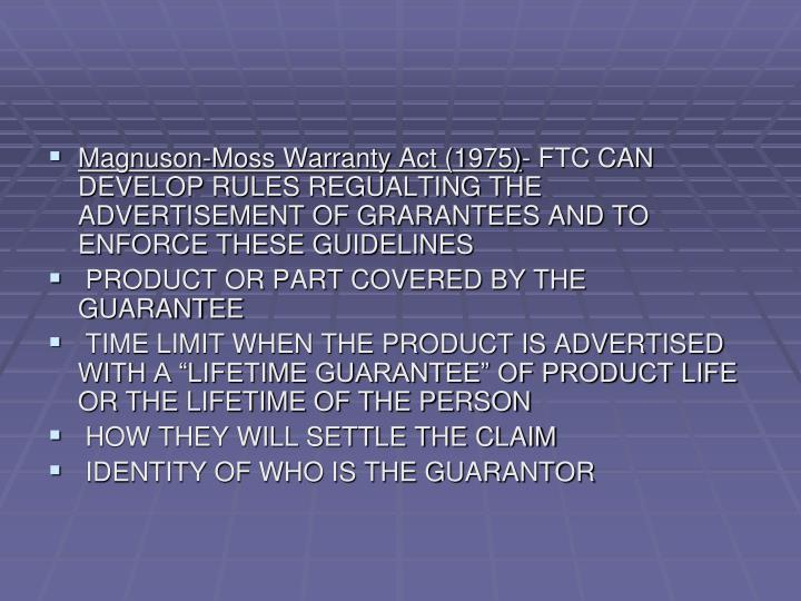 Magnuson-Moss Warranty Act (1975)