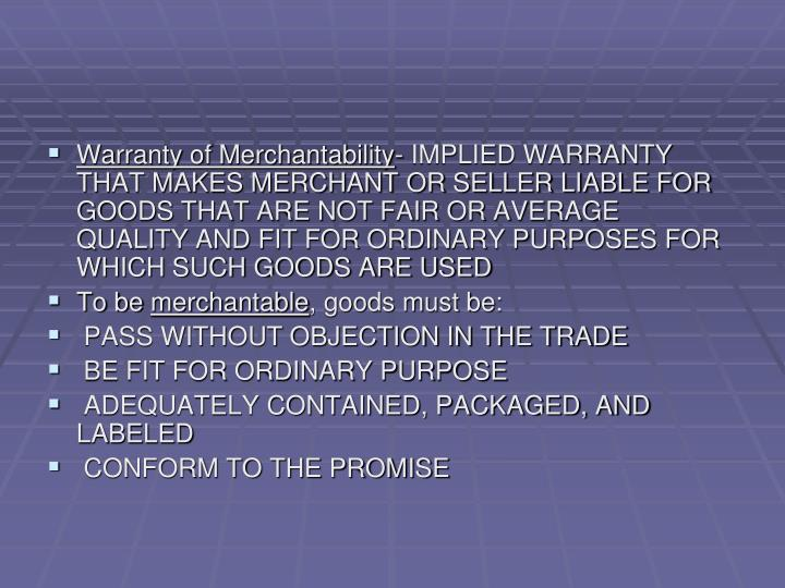 Warranty of Merchantability