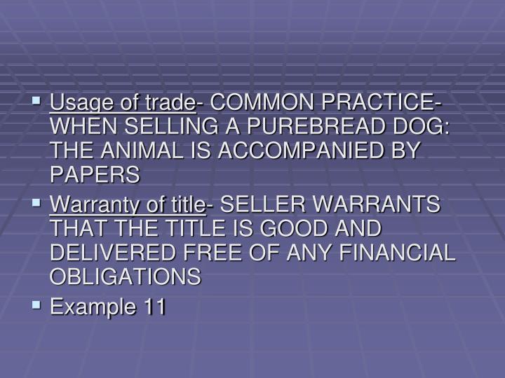 Usage of trade