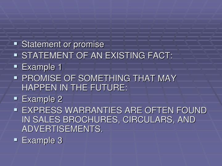 Statement or promise