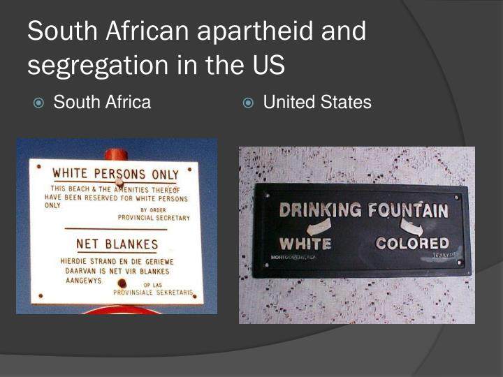 South African apartheid and segregation in the US