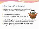 infinitives continued