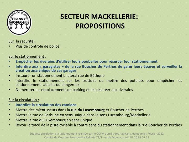 SECTEUR MACKELLERIE: