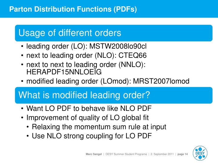 Parton Distribution Functions (PDFs)
