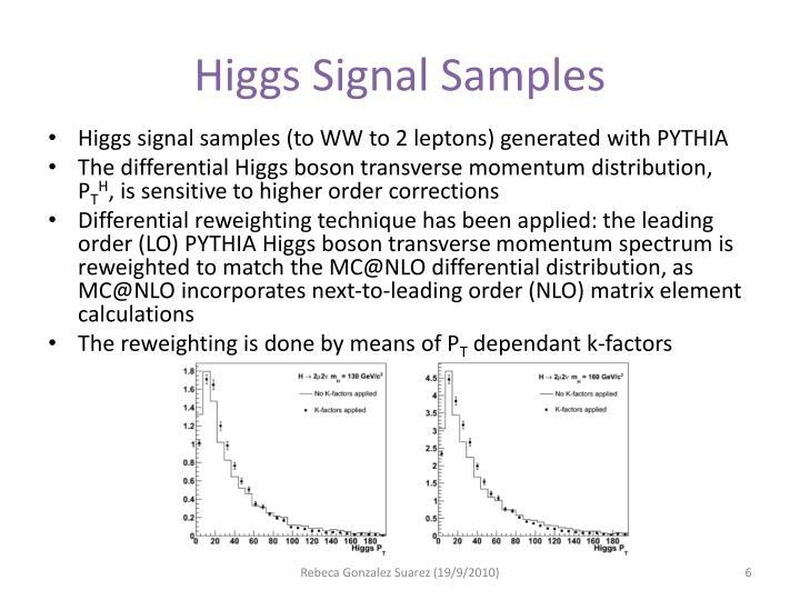 Higgs Signal Samples