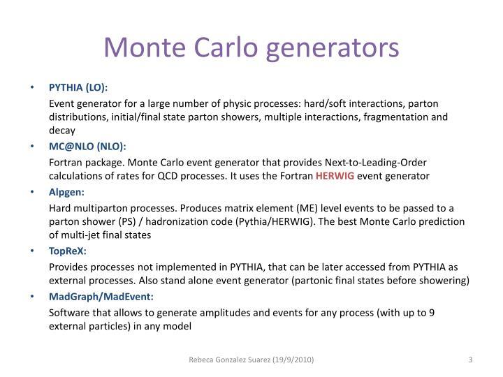 Monte Carlo generators
