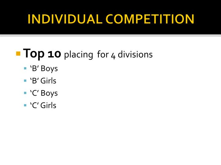 INDIVIDUAL COMPETITION