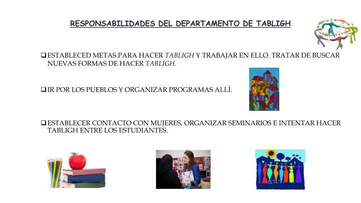 RESPONSABILIDADES DEL DEPARTAMENTO DE TABLIGH