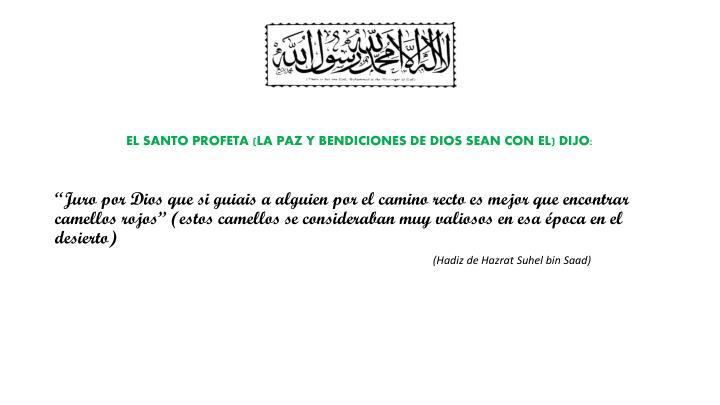EL SANTO PROFETA (LA PAZ Y BENDICIONES DE DIOS SEAN CON EL) DIJO: