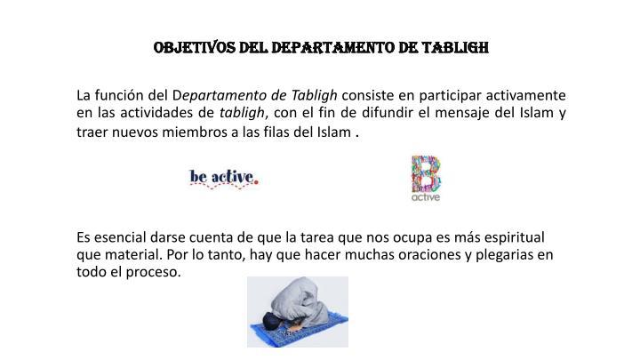OBJETIVOS DEL DEPARTAMENTO DE TABLIGH