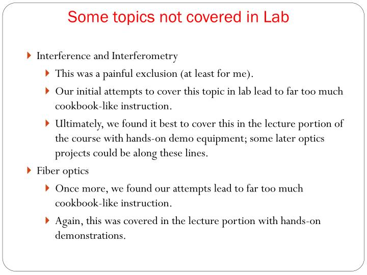 Some topics not covered in Lab