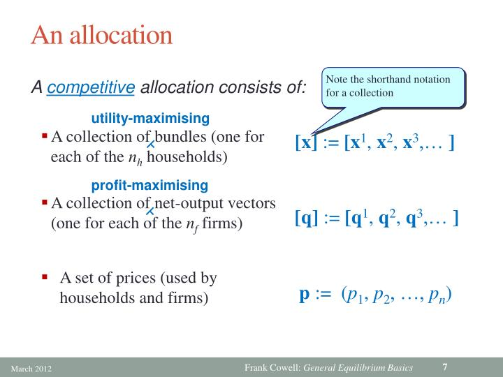 An allocation