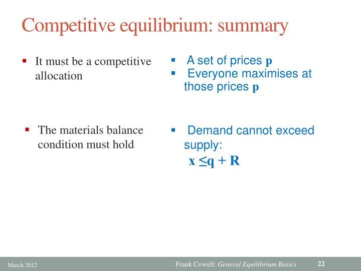 Competitive equilibrium: summary